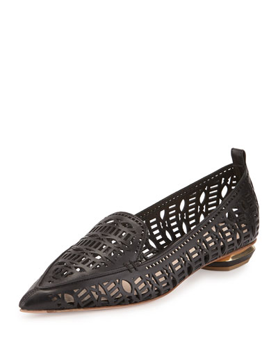 Beya Laser-Cut Leather Loafer, Black