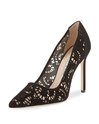 Arbob Laser-Cut Suede 105mm Pump, Black