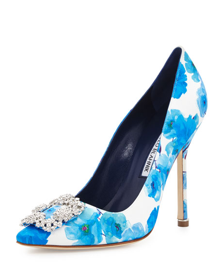 29e2589be0030 ... hot manolo blahnik hangisi floral satin 115mm pump white blue 93ef5  846d4
