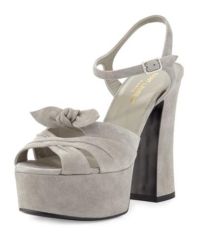 Candy Suede Platform Sandal, Gray