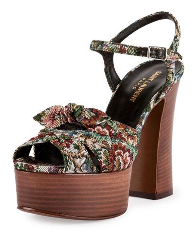 Candy Floral Jacquard Platform Sandal, Beige/Red/Blue