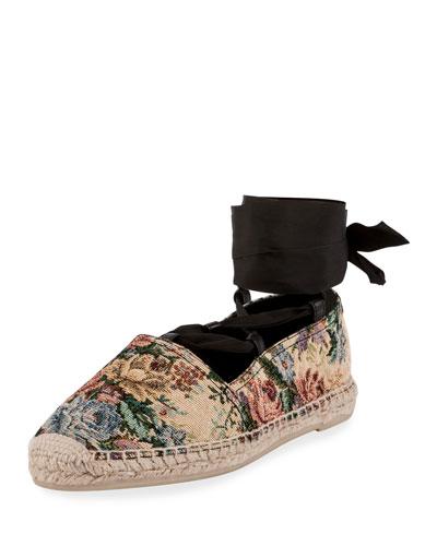 Floral Jacquard Ankle-Wrap Espadrille, Beige/Red/Blue