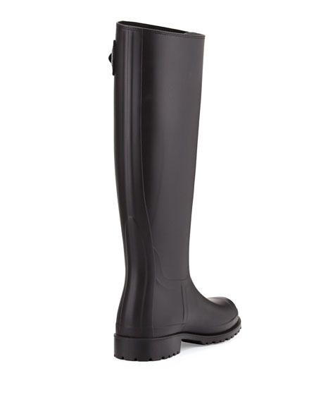 Saint Laurent Festival Tall Rubber Rain Boot, Black
