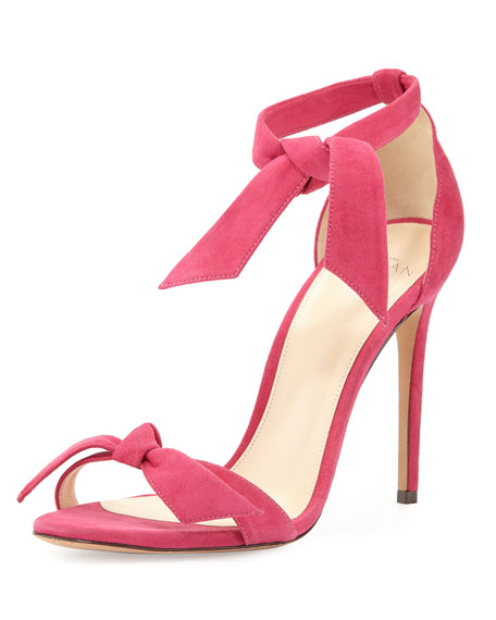 Clarita Suede Ankle-Tie 100mm Sandal, Red