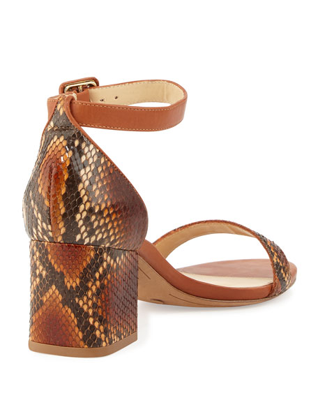 5218aea70f3 Alexandre Birman Judy Python Block-Heel d Orsay Sandal