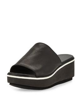 Pole Napa Leather Platform Mule, Black