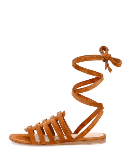 Suede Ankle-Wrap Gladiator Sandal, Light Brown