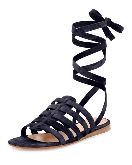 Suede Ankle-Wrap Gladiator Sandal, Denim