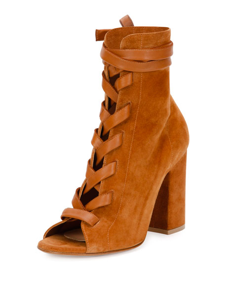 Lace-Front Peep-Toe Suede Ankle Boot, Light Brown