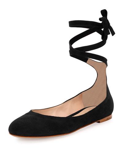 Suede Ankle-Wrap Ballerina Flat, Black