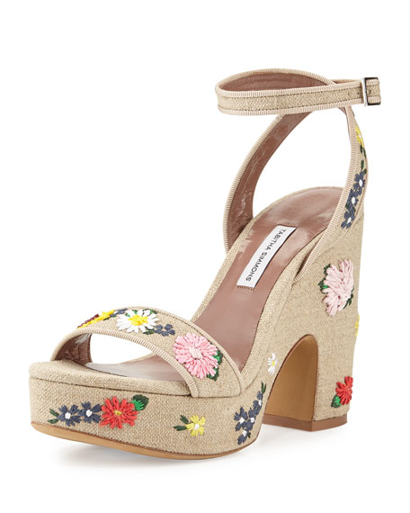 low shipping fee cheap online cheap amazing price Tabitha Simmons Embroidered Ankle-Strap Sandals best seller cheap online IaLqbD7oO