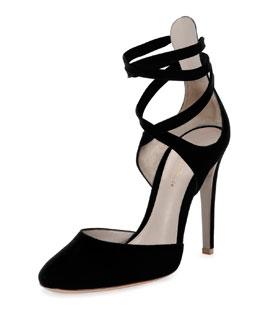 Suede Ankle-Wrap d'Orsay Pump, Black