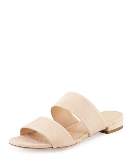 Mansur Gavriel Suede Two-Band Flat Slide Sandal, Sand