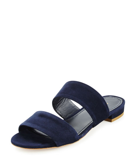 Suede Two-Band Flat Slide Sandal, Navy Blue