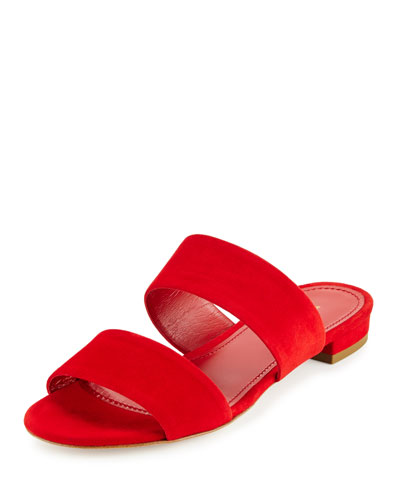 Suede Two-Band Flat Slide Sandal, Flamma