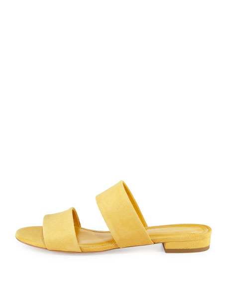 Suede Two-Band Flat Slide Sandal, Sun