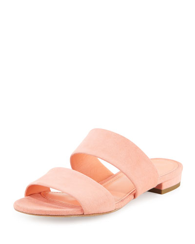 Suede Two-Band Flat Slide Sandal, Coral