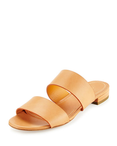 Leather Two-Band Slide Sandal, Camello