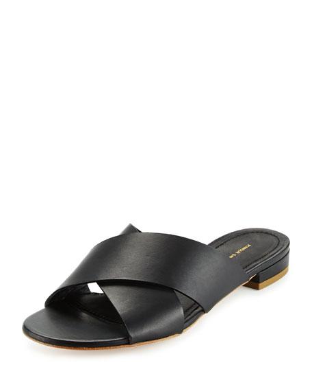 Leather Crisscross Flat Slide Sandal, Black
