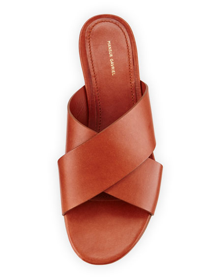 Leather Crisscross Flat Slide Sandal, Brandy