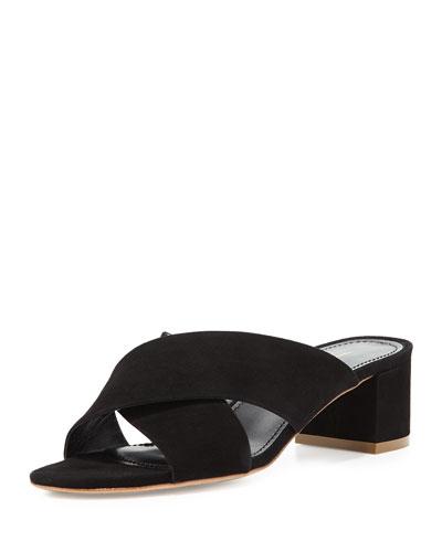 Suede Crisscross 40mm Slide Sandal, Black