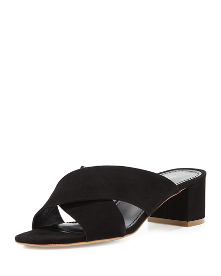 Suede Crisscross 40mm Slide Sandal, Black