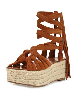 Cosie Knotted Suede Espadrille Sandal, Tan