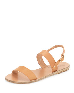 Clio Double-Band Flat Slingback Sandal, Natural