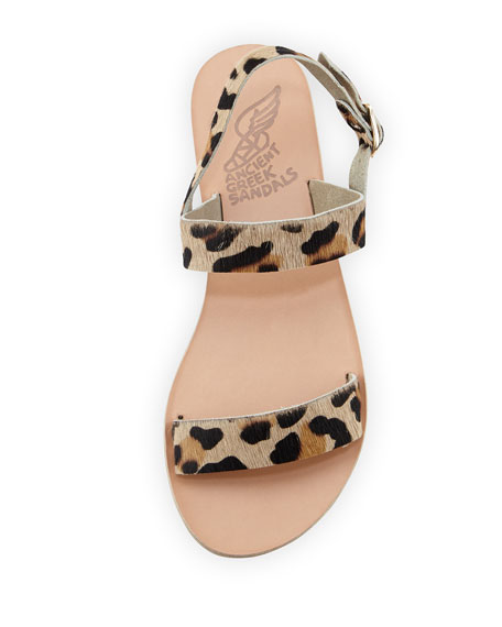 Clio Double-Band Flat Slingback Sandal, Leopard