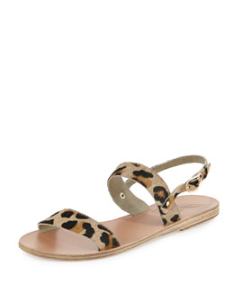 Clio Double-Band Flat Slingback Sandal, Leopard