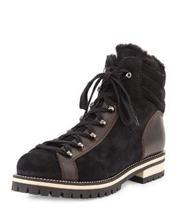 Edwina Shearling Fur-Lined Hiking Boot, Black/Espresso