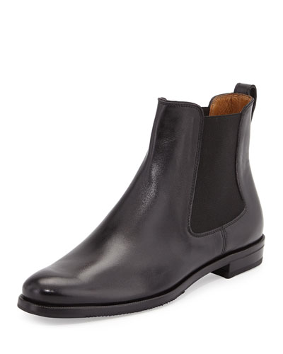 Calfskin Leather Chelsea Boot, Black