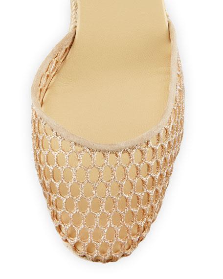 Carina Glitter Espadrille Wedge Sandal, Oro Gold