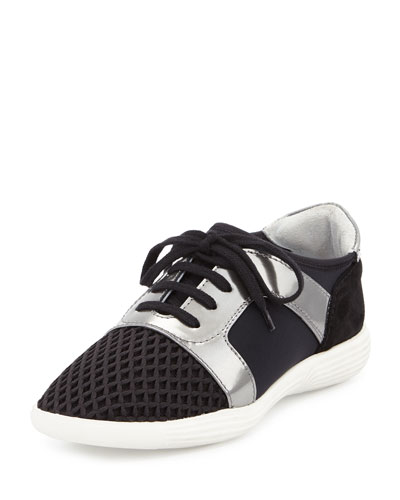 Georgia Suede & Mesh Low-Profile Sneaker, Black