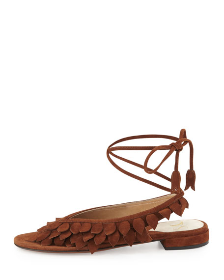 Flat Leaves Ankle-Wrap Thong Sandal, Cigar