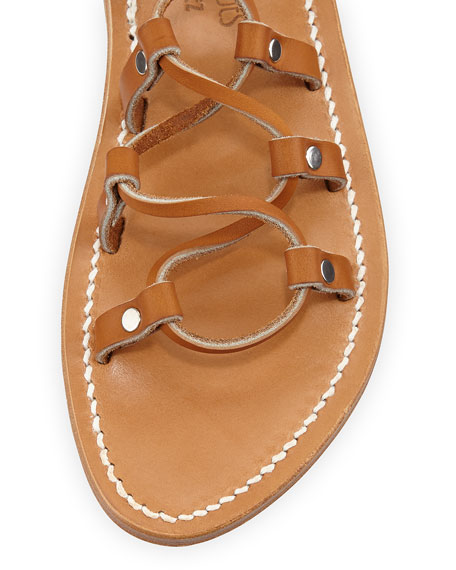 Chauvet Lace-Up Flat Sandal, Natural
