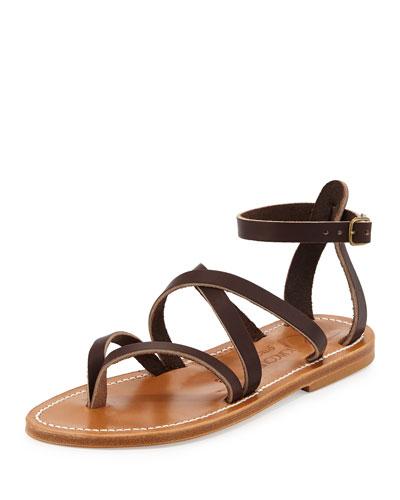 Epicure Strappy Flat Gladiator Sandal, Café