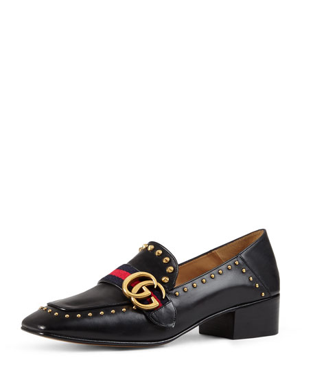 Gucci Peyton Studded Square Toe Loafer Black