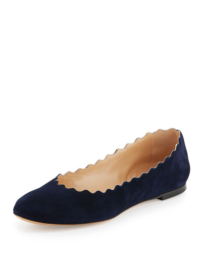 Scalloped Suede Ballerina Flat, Navy