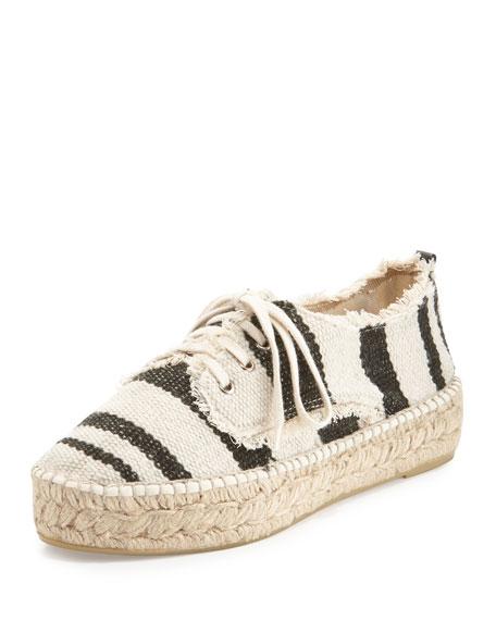 Loeffler Randall Alfie Striped Platform Espadrille Sneaker, Black/Natural