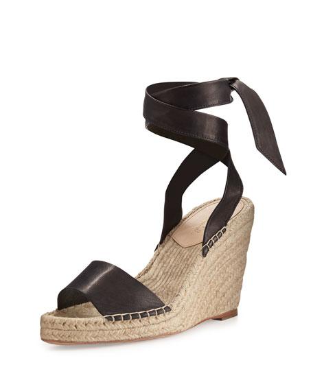 Loeffler Randall Harper Ankle-Wrap Wedge Sandal, Black