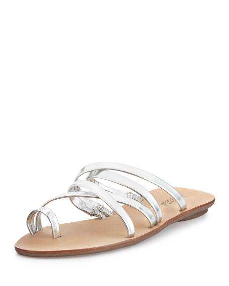 e4f7c0f30 Loeffler Randall Sarie Flat Leather Sandal Slide, Silver