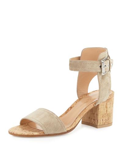 Suede Cork-Heel City Sandal, Cashmere