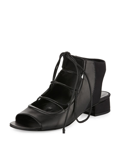 Drum Lace-Up Slingback Sandal, Black