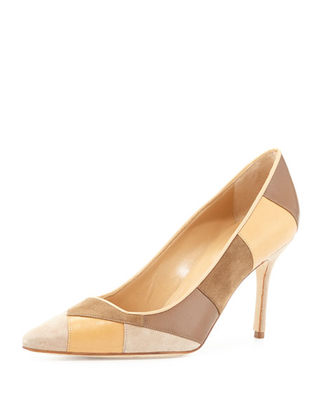 Depin Suede Patchwork Point-Toe Pump, Brown Pattern