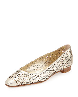 Leemi Laser-Cut Leather Flat, Sahara Gold