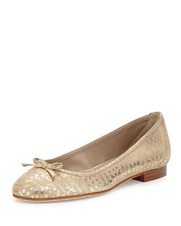 Prep Glossy Patterned Suede Ballet Flat, Brown Pattern