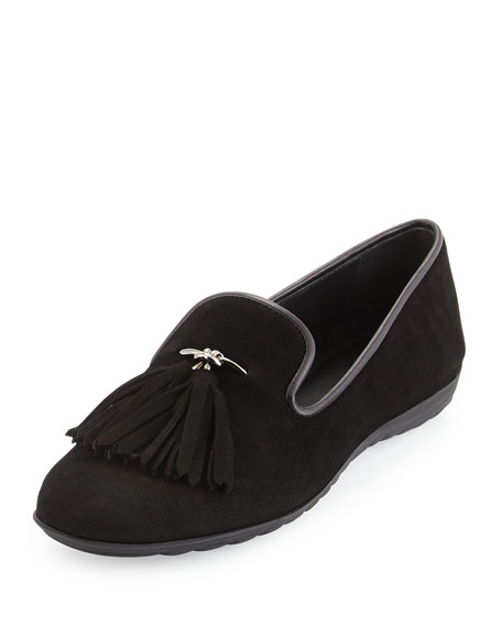 Tassel Suede Smoking Slipper, Black
