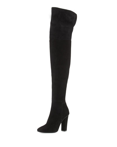 Square-Toe Suede Over-The-Knee Boot, Black