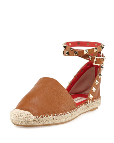 Rockstud Ankle-Wrap Espadrille Flat, Cuir/Orange